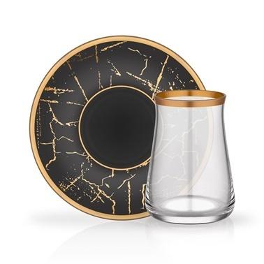Glore Tarabya Mat Altın Mermer 6'Lı Çay Seti Altın